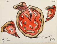 Claes Oldenburg (b. 1929) Flying Pizza, from New York Ten, 1964 Lithograph in colors on w