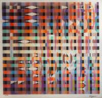 Yaacov Agam (b. 1928) Untitled, late 20th century Agamograph 16 x 17 inches (40.6 x 43.2 cm) Ed. 61/99 Signed and n