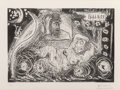 Prints & Multiples, Pablo Picasso (1881-1973). Au théâtre: David songeant à Bethsabée, 1966, printed in 1981. Etching and aquatint on wove p...