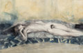 Works on Paper, Paul P. (b. 1977). Reclining Nude, 2008. Watercolor on board. 8-1/2 x 13 inches (21.6 x 33 cm). Signed and dated on the ...
