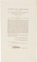 """Thomas Jefferson Foreign Service Act Signed """"Th: Jefferson"""" as Secretary of State"""
