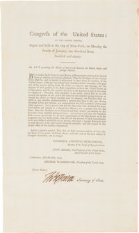 "Thomas Jefferson Foreign Service Act Signed ""Th: Jefferson"" as Secretary of State"