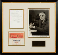 Franklin Roosevelt Autograph Endorsement Signed with a Signed Photograph