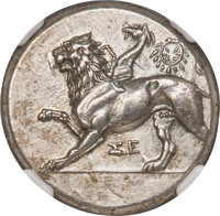 Ancients: SICYONIA. Sicyon. Ca. 400-323 BC. AR stater (24mm, 12.26 gm, 9h). NGC Choice AU 4/5 - 1/5, Fine Style, brushed...