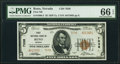 National Bank Notes:Nevada, Reno, NV - $5 1929 Ty. 2 First National Bank Ch. # 7038 PMG Gem Uncirculated 66 EPQ.. ...