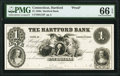 Obsoletes By State:Connecticut, Hartford, CT- Hartford Bank $1 18__ G72 Proof PMG Gem Uncirculated 66 EPQ.. ...