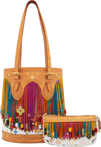 Louis Vuitton x Takashi Murakami Set of Two: White Monogram Multicolore Canvas Fringe Bucket Bag & Pochette Co... (T...