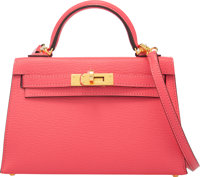 Hermès 20cm Rose Lipstick Chevre Leather Mini Kelly II Bag with Gold Hardware Y Condition: 1<
