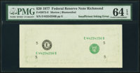 Insufficient Inking of Face Printing Error Fr. 2072-E $20 1977 Federal Reserve Note. PMG Choice Uncirculated 64 EPQ.&...