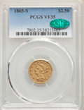 1865-S $2 1/2 VF35 PCGS. CAC. PCGS Population: (8/64). NGC Census: (6/82). CDN: $900 Whsle. Bid for NGC/PCGS VF35. Minta...