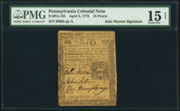 John Morton Signed Pennsylvania April 3, 1772 18d PMG Choice Fine 15 Net