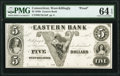 Obsoletes By State:Connecticut, West Killingly, CT- Eastern Bank $5 185_ as G8a Proof PMG Choice Uncirculated 64 EPQ.. ...