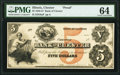 Chester, IL- Bank of Chester $5 18__ as G8a Proof PMG Choice Uncirculated 64