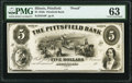 Pittsfield, IL- Pittsfield Bank $5 18__ G8 Proof PMG Choice Uncirculated 63