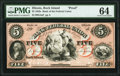 Rock Island, IL- Bank of the Federal Republic $5 18__ as G4a Proof PMG Choice Uncirculated 64