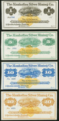 Obsoletes By State:Nevada, Austin, NV- Manhattan Silver Mining Co. $1; $5; $10; $20 187_ Remainders Crisp Uncirculated.. ... (Total: 4 notes)