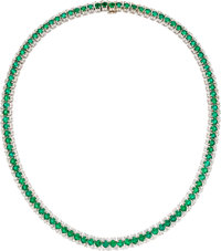Emerald, Diamond, White Gold Necklace, Craig Drake