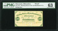 Milwaukee, WI- Phillipp Best at Banking House of M. von Baumbach & Co. 50¢ ND (ca. 1862) Krause UNL Proof PMG C...