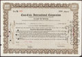 """Baseball Collectibles:Others, Cobb Family Coca-Cola Class """"A"""" Stock Certificate. ..."""