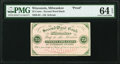 Obsoletes By State:Wisconsin, Milwaukee, WI- J.B. Schram at Second Ward Bank 25¢ ND (ca. 1862) Krause UNL Proof PMG Choice Uncirculated 64 EPQ.