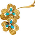 Estate Jewelry:Brooches - Pins, Turquoise, Diamond, Gold Clip-Brooch, Van Cleef & Arpels, French . ...