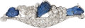 Estate Jewelry:Brooches - Pins, Sapphire, Diamond, Platinum Brooch, Wise The b...