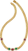 Estate Jewelry:Necklaces, Ruby, Emerald, Diamond, Gold Necklace The neck...