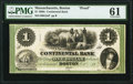 Boston, MA- Continental Bank $1 Oct. __ 18__ as G2a Proof PMG Uncirculated 61