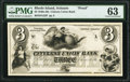 Scituate, RI- Citizens Union Bank $3 18__ G22 as Durand 2111 Proof PMG Choice Uncirculated 63