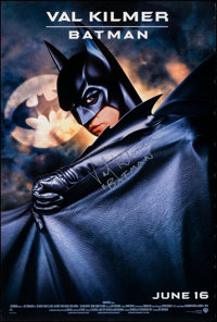 "Batman Forever (Warner Bros., 1995). Rolled, Very Fine-. Autographed One Sheet (27"" X 40.25""). Page Wood Artwo..."