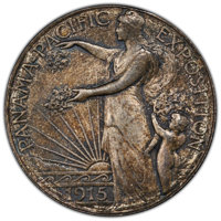 1915-S/S 50C Panama-Pacific, FS-502, MS65+ PCGS. CAC. PCGS Population: (3/5 and 1/2+). NGC Census: (0/0 and 0/0+). MS65...