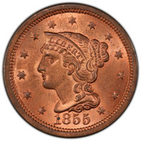 1855 1C Upright 5s MS64+ Red PCGS. PCGS Population: (87/102 and 4/14+). NGC Census: (56/40 and 3/0+). MS64. Mintage 1,57...