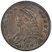 1809 50C III Edge AU53 PCGS. PCGS Population: (19/37 and 0/2+). NGC Census: (3/6 and 0/1+). CDN: $1,350 Whsle. Bid for N...