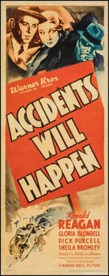 "Accidents Will Happen (Warner Bros., 1938). Fine/Very Fine on Linen. Linen Finish Insert (14"" X 36""). Crime..."