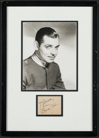 "Clark Gable (MGM, 1930s). Very Fine+. Photo and Autographed Card in Frame (13.5"" X 19""). Miscellaneous"