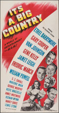 """Movie Posters:Comedy, It's a Big Country (MGM, 1951). Folded, Very Fine-. Three Sheet (41"""" X 79""""). Comedy.. ..."""