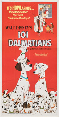"101 Dalmatians (Buena Vista, R-1969). Folded, Very Fine-. Three Sheet (38.5"" X 77""). Animation"