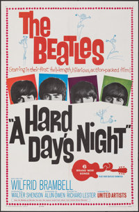 "A Hard Day's Night (United Artists, 1964). Folded, Very Fine-. One Sheet (27"" X 41""). Rock and Roll"