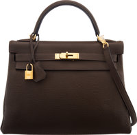 Hermès 32cm Cafe Clemence Leather Retourne Kelly Bag with Gold Hardware R Square, 2014 Condition: