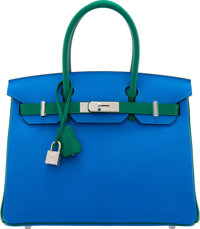 Hermès Special Order Horseshoe 30cm Blue Hydra & Vert Bengale Chevre Leather Birkin Bag with Palladium Hardwa...