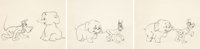 Pluto's White Elephant Animation Drawing Sequence of 3 (Walt Disney, c. 1948).... (Total: 3 Items)
