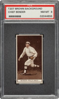 Baseball Cards:Singles (Pre-1930), 1912 T207 Recruit Chief Bender PSA NM-MT 8 - Pop Two, None Higher. ...