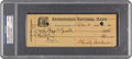 Baseball Collectibles:Others, 1924 Christy Mathewson Signed Check, PSA/DNA Mint 9.