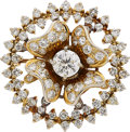 Estate Jewelry:Brooches - Pins, Diamond, Gold Brooch The brooch centers a cir...