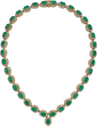 Emerald, Diamond, Gold Necklace