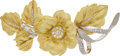 Estate Jewelry:Brooches - Pins, Diamond, Gold Brooch The floral motif brooch ...