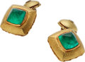 Estate Jewelry:Cufflinks, Emerald, Diamond, Gold Cuff Links, Matthew Trent . ...