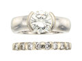 Estate Jewelry:Rings, Diamond, White Gold Ring Set The set includes ...