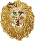 Estate Jewelry:Brooches - Pins, Diamond, Ruby, Emerald, Gold Pendant-Brooch, Hammerman Brothers. ...