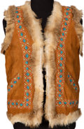 Music Memorabilia:Costumes, Jimi Hendrix Owned and Worn Tan-Colored Suede Vest With Embroidery and Fur Trim. ...